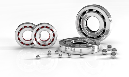 Industrial image with ball bearings on white background photo