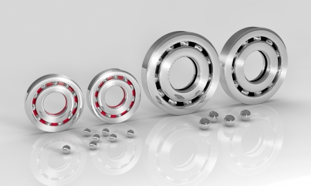 ball bearing: Industrial image with ball bearings on white background