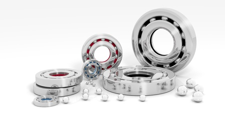 Industrial image with ball bearings on white background