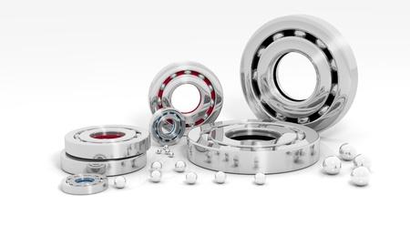 Industrielle Bildverarbeitung mit Kugellagern auf weißem Hintergrund Standard-Bild - 13926846