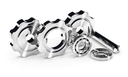 Industry concept image with gears and ball bearings photo