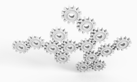 Industry concept image with white gears Stock Photo - 14088536