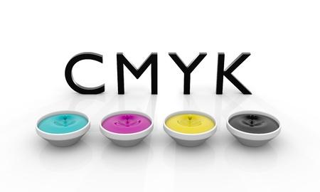 offset: CMYK liquid inks spilling, 3D render image