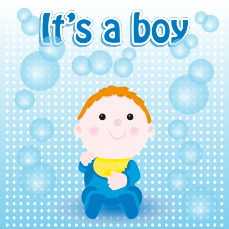 Baby shower card, boy birth Vector