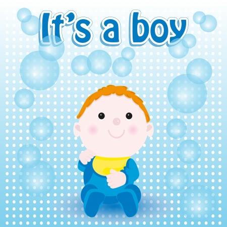 Baby shower card, boy birth Vector