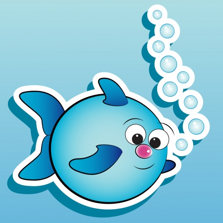 Fish with air bubbles - Card for kids - Scrapbook and labels useful Vector