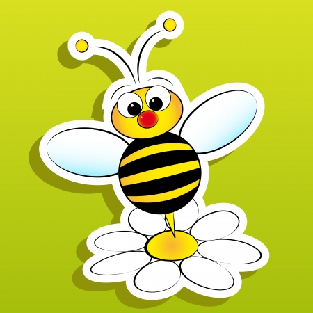 bumble: Bee and daisy - Card for kids - Scrapbook and labels useful Illustration
