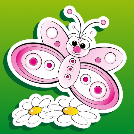 useful: Butterfly with daisies, illustration for kids, scrapbook and label useful Illustration