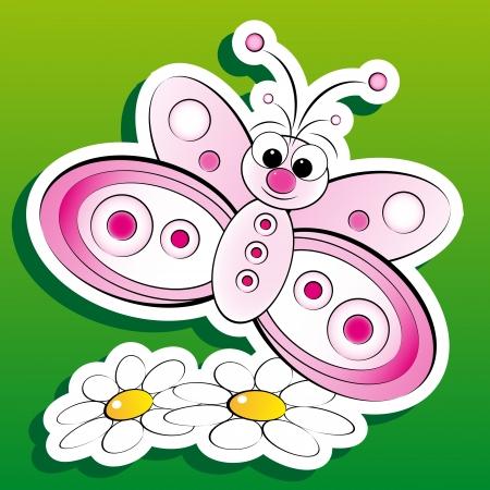 margriet: Vlinder met madeliefjes, illustratie voor kinderen, plakboek en etiketten nuttig Stock Illustratie