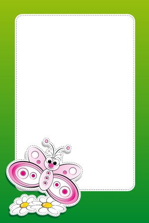 cute kids: Butterfly with daisies, illustration for kids, scrapbook and label useful Illustration