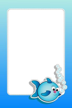 Los peces con burbujas de aire - Tarjeta para los niños - bloc de notas y etiquetas útiles Foto de archivo - 14417470