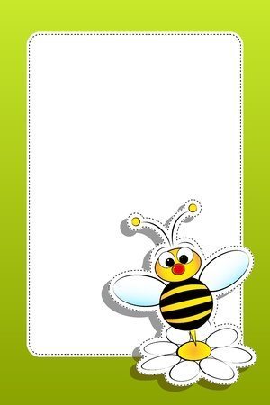 Bee and daisy - Card for kids - Scrapbook and labels useful Vectores