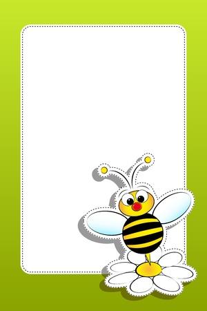 margriet: Bee en Daisy - Card voor kinderen - Scrapbook en etiketten nuttig Stock Illustratie