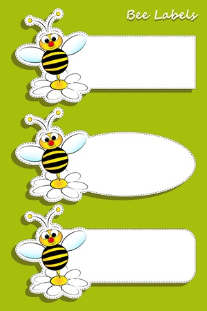 Bee and daisy, set of three labels Vector