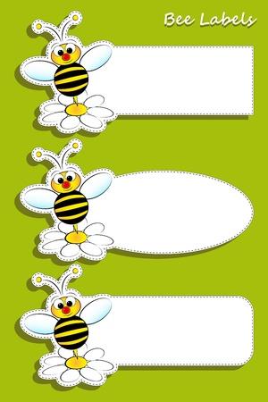 Bee und Gänseblümchen, von drei Etiketten gesetzt Standard-Bild - 14670077