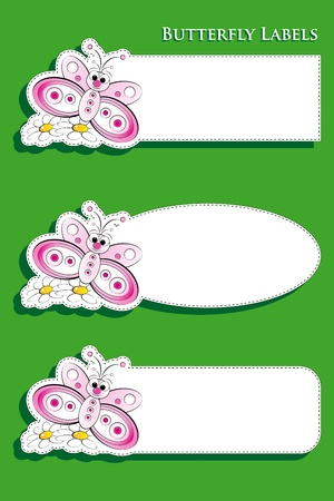 margriet: Set van drie etiketten met vlinder en madeliefjes