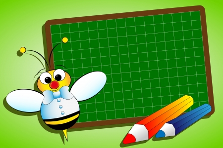 Back to school concept with blackboard and bee Vector