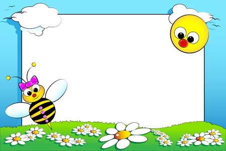 photoframe: Kid scrapbook with baby bee and white daisies in a field with sun