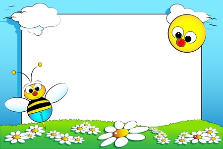 Kid scrapbook with baby bee and white daisies in a field with sun Vector