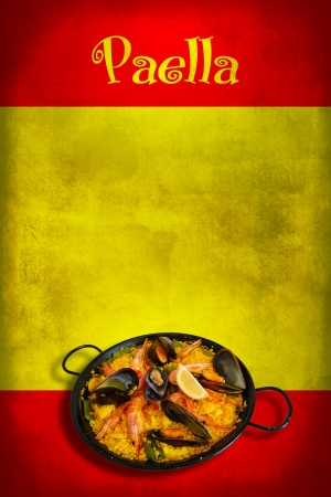 Traditional spanish dish: paella valenciana on spanish flag