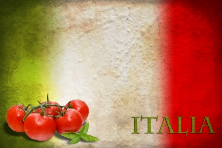 italiA: Traditional Italian flag with tomatoes and basil