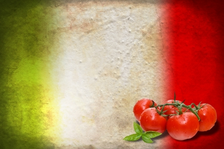 Traditional Italian flag with tomatoes and basil photo