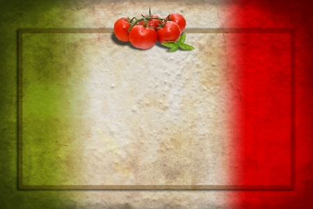 italiA: Traditional Italian flag with tomatoes and basil on blank frame