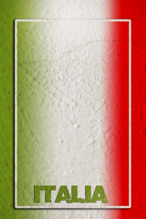 italia: Traditional Italian flag on blank frame and grunge background Stock Photo