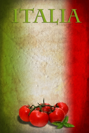 Traditional Italian flag with tomatoes and basil Stock Photo - 15697879