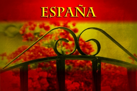 Spanish vintage image with gate and flower on flag colors photo