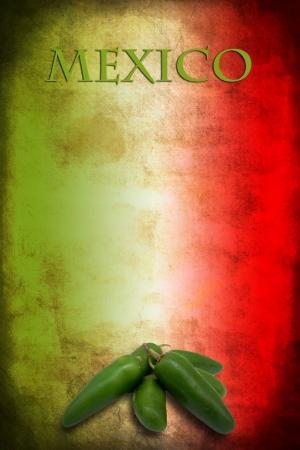 bandera mexicana: Tipycal comida mexicana: verde jalapeño en México bandera