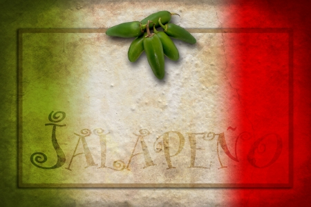 red chilli pepper plant: Tipycal Mexican food: green jalapeno on Mexico flag Stock Photo