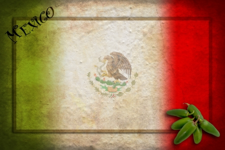 red jalapeno: Typical Mexican food: green jalapeno on Mexico flag Stock Photo