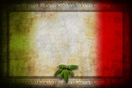 bandera de mexico: Comida típica mexicana: verde jalapeño en México bandera Foto de archivo