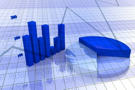 market analysis: Background with diagram and chart, business image with blue tones