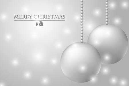 silver balls: Christmas card with silver balls