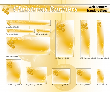 gold standard: Set of Christmas banners, standard sizes  labels useful  Gold Tones