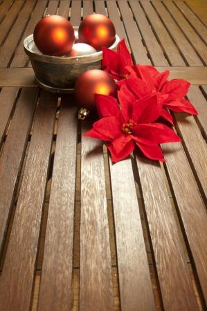 Christmas decoration with poinsettia photo