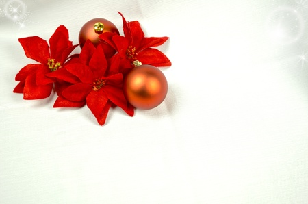 Christmas decoration with red balls and copy space, greeting card useful photo