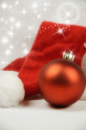 christmas symbol: Christmas decoration with red balls and copy space, greeting card useful