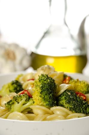 Orecchiette with broccoli with ingredients, italian pasta photo