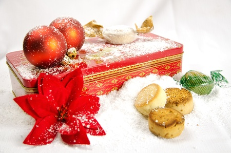 red gift box: Christmas red balls, cookies and red gift box