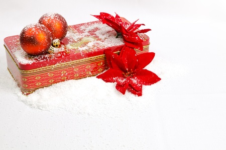 Christmas red balls and red gift box photo