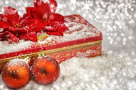 red gift box: Christmas red balls and red gift box Stock Photo