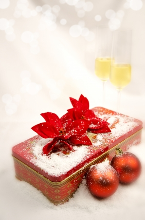 Christmas red balla, red gift box and glasses Stock Photo - 16471603