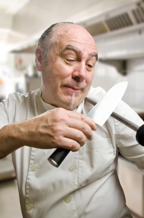 sharpening: Crazy cook sharpening a knife