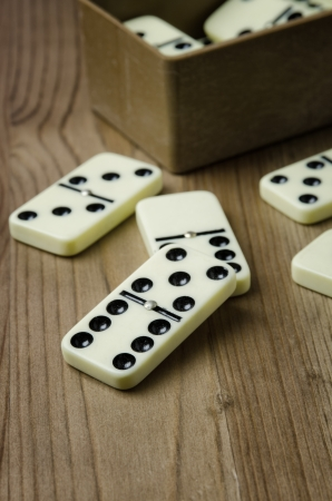 Close up of domino with black dots on wooden background photo