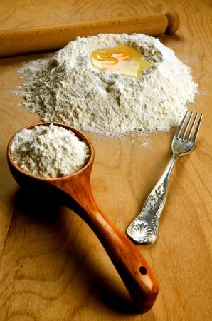 Homemade italian fresh pasta ingredients: flour and eggs