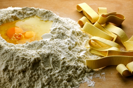 Homemade fresh pasta, italian pappardelle with ingredients Stock Photo - 17376149