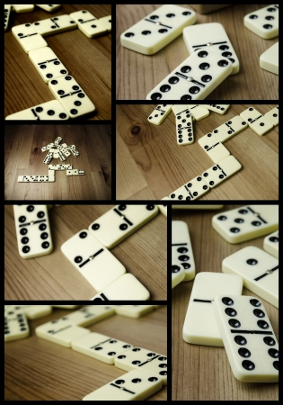 Photo collage, domino with black dots on wooden background Stock Photo - 17513396